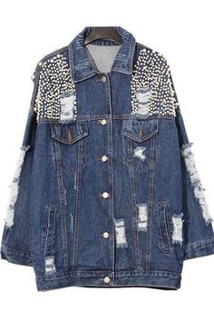 Just In Pearly Pearl Embellished Denim Jacket Shop Now! http://www.shopelettra.com/products/pearly-pearl-embellished-denim-jacket