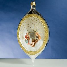 De Carlini Silver Drop Nativity Creche Italian Glass Christmas Ornament