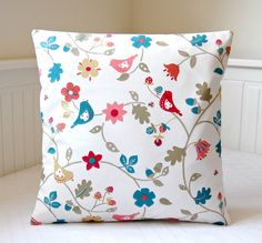 cushion cover 18 inch birds decorative pillow by LittleJoobieBoo, £17.50