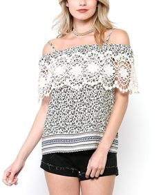 This Ivory Floral Crochet Open Shoulder Top is perfect! #zulilyfinds