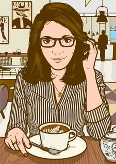 illustration of a Parisian girl drinking coffee in an art gallery.