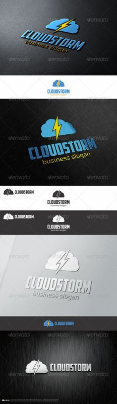 Cloud Storm Thunder Logo - An excellent logo for cloud / file storage or any business company ; suitable for service, saving the files / online data analytic. But it's not only specific company can use this logo, bring the cloud and lighting storm concept can be put in any logo.  This logo template highly suitable for communication, technology, and science businesses, design and multimedia businesses, software app icon, etc.