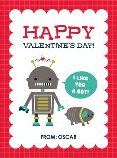 Have 'Bots of Fun' this Valentine's Day Card in Bright Red.