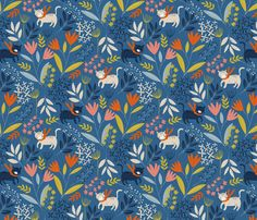 Cats and Flowers wallpaper by melarmstrongdesign on Spoonflower - custom fabric Textile Pattern Design, Surface Pattern Design, Textile Patterns, Cat Flowers, Fabric Flowers, Flora, Custom Wallpaper, Textured Walls, Custom Fabric