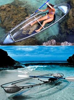 See through canoe…cant decide if this is the most amazing thing or terrifying… I suppose that depends on whats swimming underneath you! Canoe Cooler, Canoa Kayak, Wind Surf, Foto Sport, Water Toys, Cool Inventions, Adventure Is Out There, Outdoor Fun, The Places Youll Go