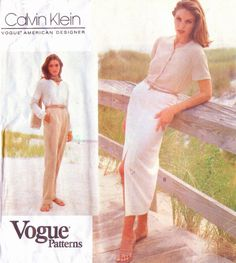 1990s Calvin Klein Vogue American Designer Sewing Pattern 1070 Womens Classic Pants and Pencil Skirt Size 14 16 18 Hip 38 40 42 UnCut