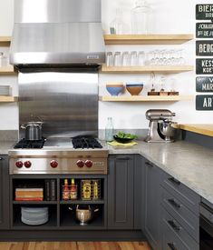 kitchens - gray kitchen cabinets floating shelves stainless steel appliances  Charcoal gray modern kitchen design with gray cabinets, white oak