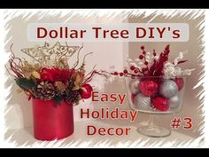 diy holiday vase or candle holder dollar tree youtube designed by adaeze christmas decorations pinterest youtube design holidays and glass - Dollar Tree Christmas Tree
