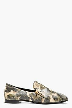 GIUSEPPE ZANOTTI Beige & green distressed leather CAMO LOAFERS