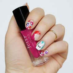Fun Easter Manicure | Easter Bunny Flowers Nail Art  with Julep on Living After Midnite