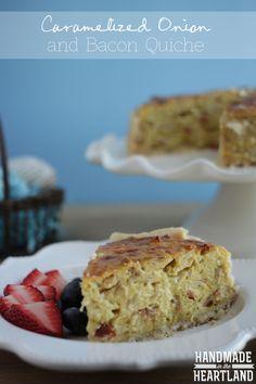 Caramelized Onion & Bacon Quiche, made delicious by including Kraft #freshtake. #shop Handmadeintheheartland.com
