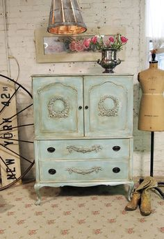 Painted Cottage Chic Shabby Aqua French Dresser by paintedcottages, $395.00