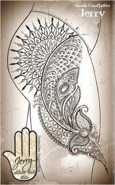 Mandala thigh tattoo idea design with beautiful lace and mendi patterns, dotwork. - Mandala thigh tattoo idea design with beautiful lace and mendi patterns, dotwork. Lace Thigh Tattoos, Rose Tattoos, Leg Tattoos, Body Art Tattoos, Sleeve Tattoos, Tattoo Thigh, Maori Tattoos, Tattoo Femeninos, Lace Tattoo