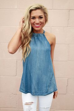 Take My Chances Chambray Top • Impressions Online Women's Clothing Boutique