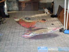 krijt tekening naar Julian Beever chalk pastel streetart