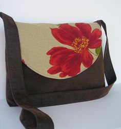 Messenger Bag / Crossbody Bag / Laptop / Diaper Bag in Rustic Poppy. $33.00, via Etsy.