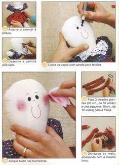 Moldes Para Artesanato em Tecido: Boneca com moldes