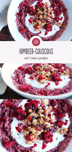 Raspberry couscous with chia seeds: a delicious, colorful fruit idea that puts you in a good mood. desserts for recipes delicious recipes Health Breakfast, Breakfast Recipes, Dinner Recipes, Desserts Sains, Good Food, Yummy Food, Delicious Fruit, Vegetable Drinks, Health Desserts