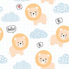 Cute animal lion cartoon doodle seamless pattern Vector | Premium Download Cute Owls Wallpaper, Cute Patterns Wallpaper, Cartoon Wallpaper, Doodle Background, Cartoon Background, Kids Prints, Baby Prints, Cartoon Lion, Lion Illustration