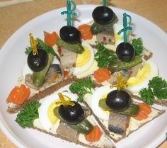 A variety of snacks Sandwiches «with vodka«