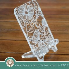 Cell Phone stand - Iphone Stand - Ideas of Iphone Stand - Cell phone stand laser cut floral template pattern design Mothers day gift. Free Vector designs every day. Iphone Holder, Iphone Stand, Cell Phone Holder, Iphone Phone, Trotec Laser, Laser Cut Wood, Laser Cutting, Laser Art, Wood Laser Ideas
