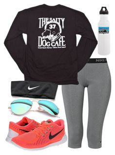 """""""out and about"""" by sofiaestrada ❤ liked on Polyvore featuring NIKE, Ray-Ban and Patagonia"""