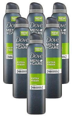 6 Pack Dove Men+Care Extra Fresh Scent Anti-Perspirant Deodorant Spray 150 Ml