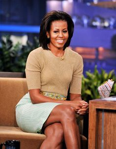 First Lady Michelle Obama appears on the Tonight Show With Jay Leno in Burbank, California.