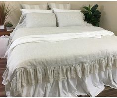 """This comfortable and charm duvet cover with mermaid long ruffle is a effortless must have for any shabby chic room. Luxuriously soft yet practical. Featuring 8"""" effortless flow mermaid long ruffle edges, Made to order from 100% linen. . We can adjust the ruffle length so it"""
