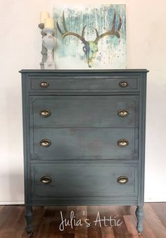 A personal favorite from my Etsy shop https://www.etsy.com/listing/521396756/vintage-slate-gray-dresser