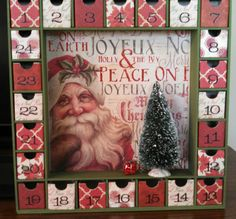 Santa Christmas Advent Calendar by SmartArtbySusie on Etsy
