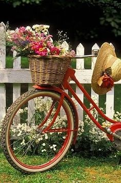 Brimmed hat and basket with flowers on a red bike by a white picket fence
