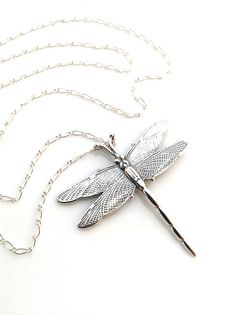 Dragonfly Necklace, Silver Dragonfly Pendant, Large Silver Pendant, Sterling Silver, Long Silver Necklace, Dragon Fly Jewelry, Etched Silver...