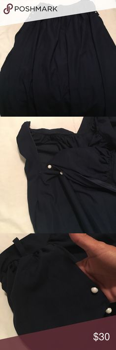 Navy blue sheer maxi skirt. NWOT. Beautiful navy sheer side zip maxi skirt. Way to long for me and don't have enough skills to hem it properly. No size or wash tags I would say it's a 6/7, it came that way. Waist it 14 and the length is 46. There are pockets accents with little white buttons. Love it and wish it fit it needs a taller owner to love it. Skirts Maxi