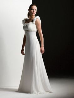 A-line Straps Chiffon Floor-length Beading Wedding Dresses Shop uk