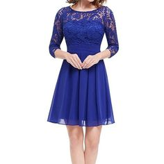 Darceil Women's Sexy Scoope Neck Long Sleeve Royal Blue Lace Chiffon... ($30) ❤ liked on Polyvore featuring dresses, long sleeve dress, lace dress, short lace dress, sexy blue dress and blue dress