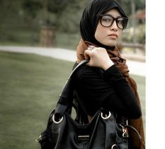 Brown Scarf, Black T-Shirt with long sleeves underneath, glasses - Hijab