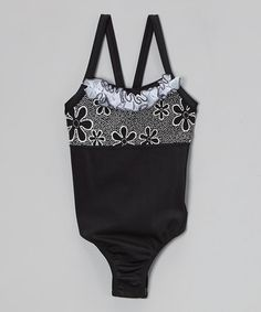 Another great find on #zulily! Black & White Daisy Leotard - Toddler & Girls by Niva-Miche Clothes #zulilyfinds