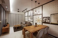 Arc @ Tampines, Industrial Condominium Interior Design, Living & Dining Room