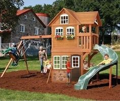 Set Playset Playground Outdoor Swing Backyard Kids Swingset Play Wooden Gym Kit Give your little adventurers a place to act out their childhood fantasies with this Outdoor Set Playground Playset. Backyard Playhouse, Build A Playhouse, Backyard Playground, Backyard For Kids, Backyard Playset, Playground Ideas, Wood Playground, Toddler Playground, Backyard Gym