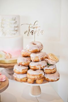 """Happy Birthday"" sign from Amazon topper thing- gluten free vanilla donuts with gold glitter"