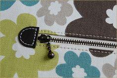 ファスナーポケット 革の飾り布 作り方