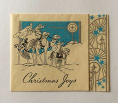 Vintage Kings of Camel Looking at Star Christmas Greeting Card