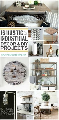 I absolutely love the rustic industrial style trend. Come check out 16 unique decor ideas and DIY projects   Roundup via TheTurquoiseHome.com