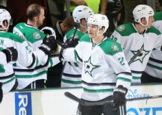 Antoine Roussel of the Stars celebrates one of his two goals in a win over the Ducks  11-26-13