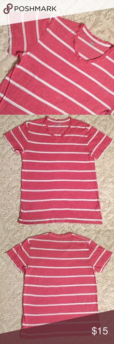 "Old Navy Red White Stripe V-Neck Men's Shirt Good condition, no stains or flaws   Material: 100%Cotton Size: Medium   Chest 20"" Length 27 1/2"" Old Navy Shirts Tees - Short Sleeve"
