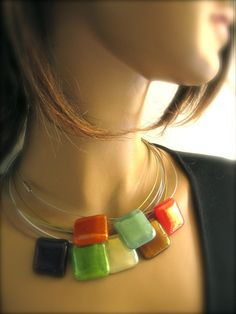 Metallic Color Fused Glass Modern Choker by Glassimo on Etsy, $25.00