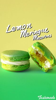 A fluffy swirl of meringue frosting paired with tart lemon curd makes these macarons an irresistible treat.