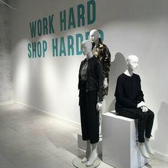 "HUDSON'S BAY COMPANY, Rotterdam, The Netherlands, ""Work Hard, Shop Harder!"", mannequins by Hans Boodt Mannequins, pinned by Ton van der Veer"