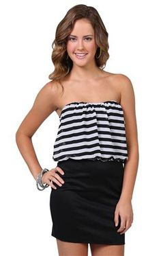 Deb Shops strapless dress with blouson bodice and bodycon skirt $29.90